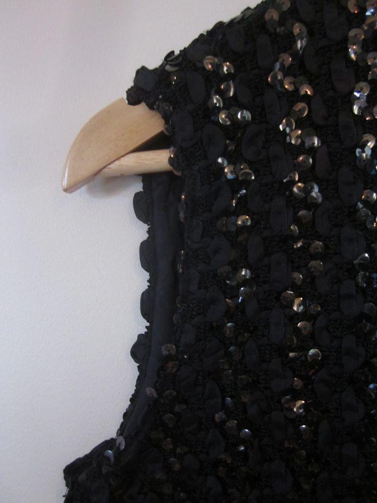 VINTAGE stunning authentic 50s retro black ribbon sequin summer cocktail party top (equiv sz us 4, nz au uk 8, eu 36) by shopblackheart on Etsy