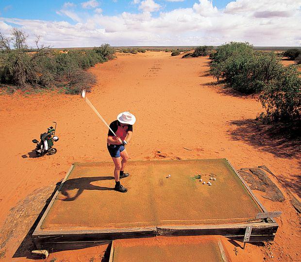Golfing at the Woomera Golf Club in South Australia.
