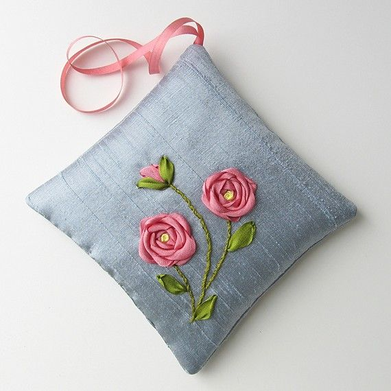 Coral Roses Lavender Sachet silk ribbon embroidery by bstudio on Etsy