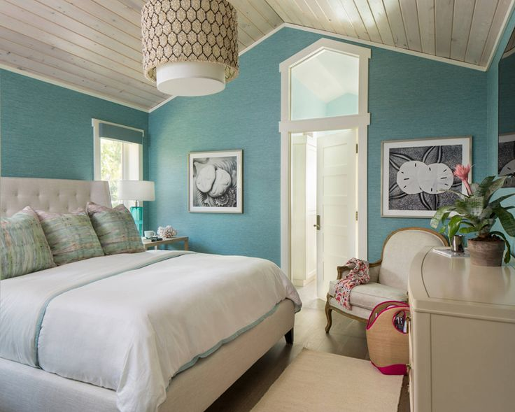 turquoise coastal bedroom