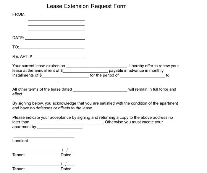 Lease Extension Agreement Template Lease Extension Request Form   Excel  About