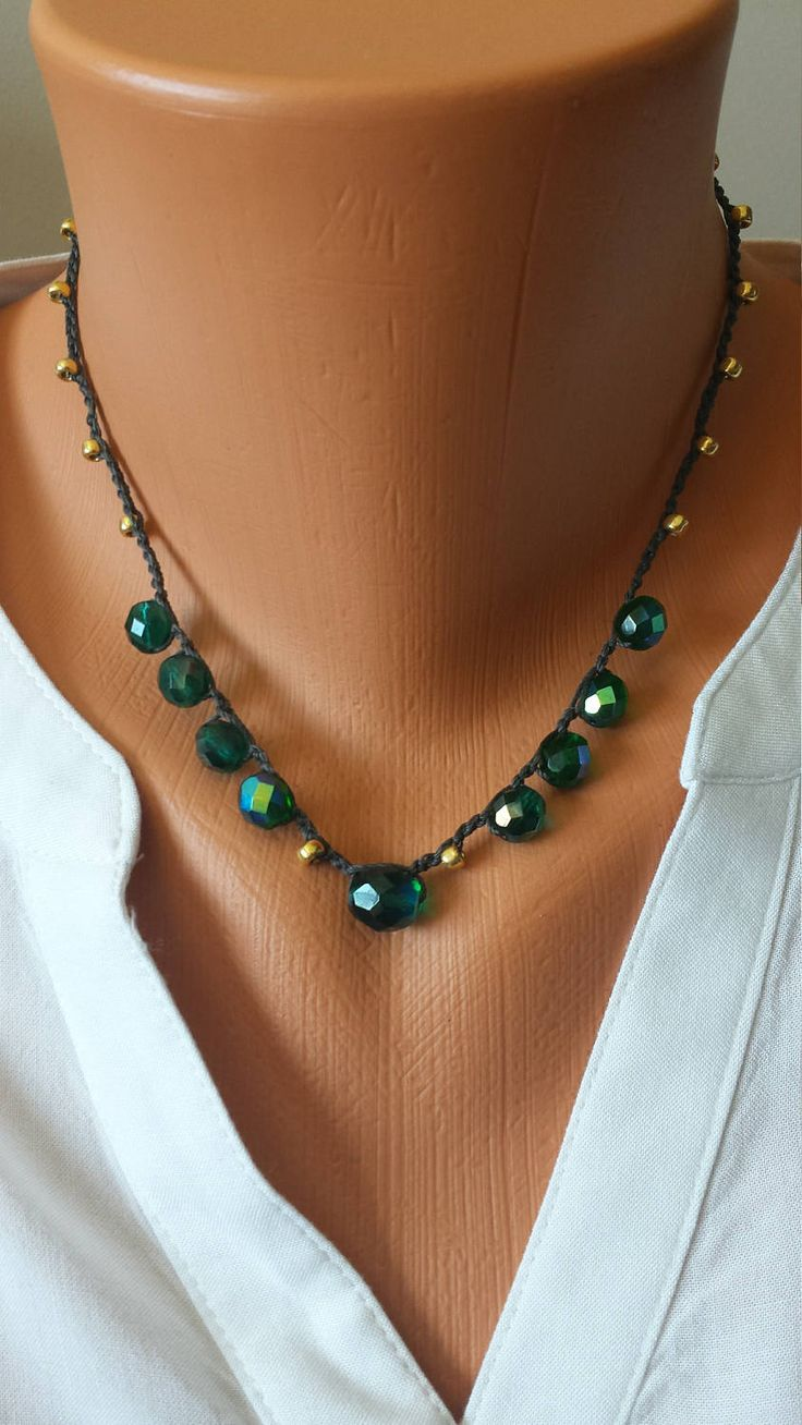 Emerald Crystal Hand Crocheted Necklace Seed Beads Ornate Button by BEEDZnBAGZ by BEEDZnBAGZ on Etsy