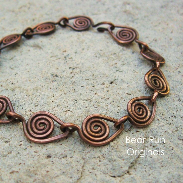 Copper Wire Wrapped Bracelet – Copper Parade – antiqued all copper links bracelet