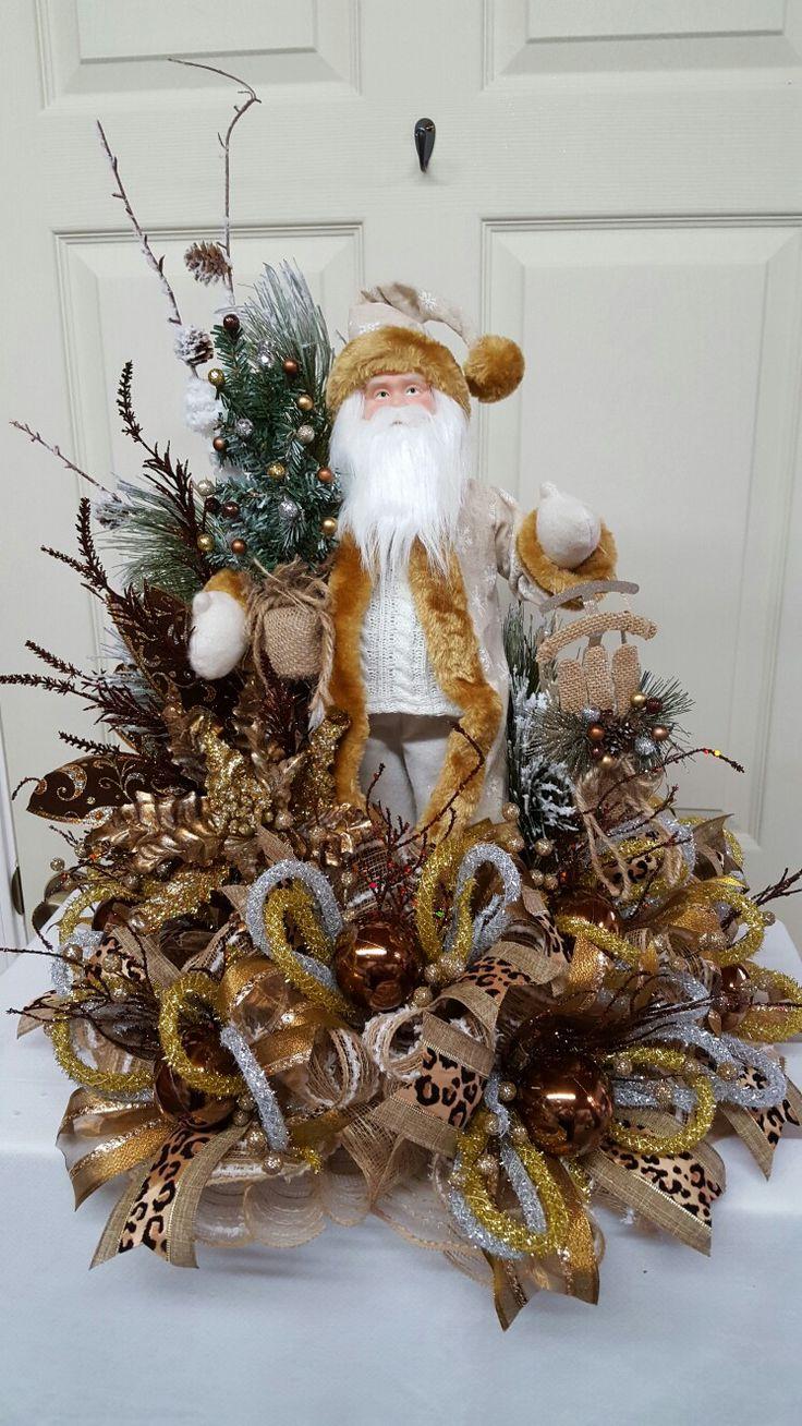 Santa Centerpiece In Warm Golden Earth Tones! Christmas Arrangementsfloral  Arrangementschristmas Wreathschristmas