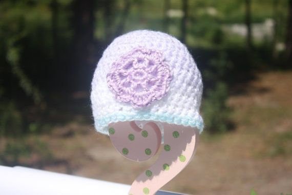Variegated Pastel Turquoise/Purple Baby Beanie by ImagineThatBaby