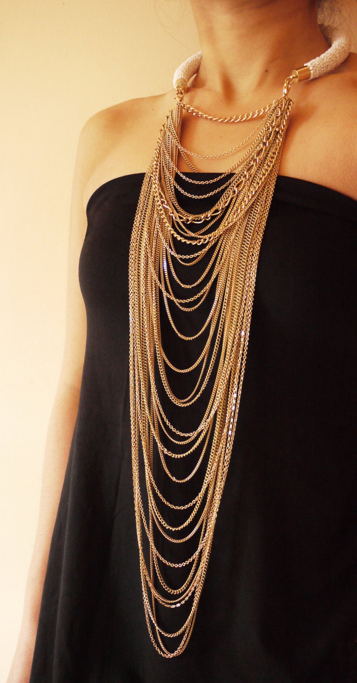 White beaded collar necklace with gold chains.