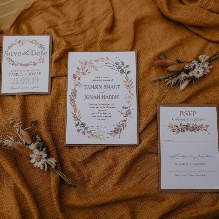 Wedding Invitation sample | Rustic Autumn Fall Winter Berry Pine Comb Leaf Wreath Watercolour Illustrative | Luxury Simple Organic Invites