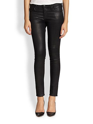 AG coated leather denim leggings