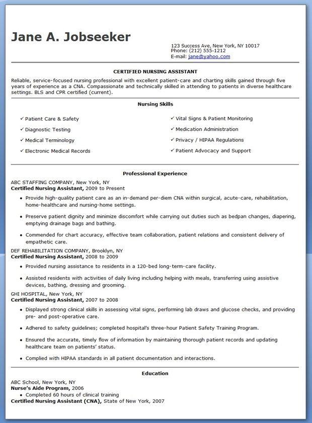Free Sample Certified Nursing Assistant Resume Certified