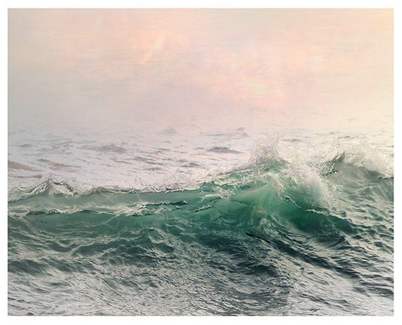 Large Ocean Wall Art Water Landscape Photography Prints Sea Wave Art Print Pink Green Nautical Decor Oversized Photo Poster In 2020 Water Art Sea Photography Green Wall Art