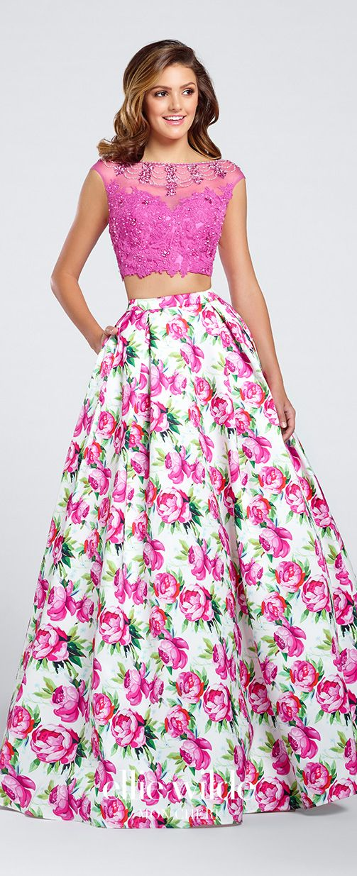 Prom Dresses 2017 - Ellie Wilde for Mon Cheri - two-piece pink floral prom dress with beaded lace cropped top - Style No. EW117035
