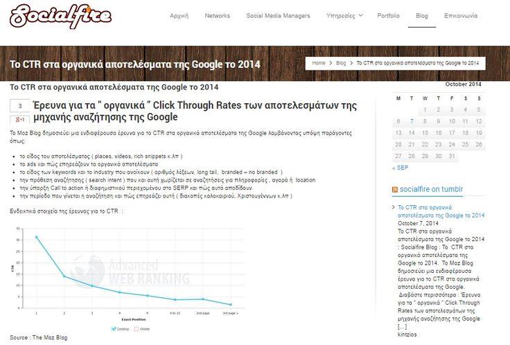 """Έρευνα για τα """" οργανικά """" Click Through Rates των αποτελεσμάτων της μηχανής αναζήτησης της Google. #seo #organic #search #ctr  Διαβάστε περισσότερα : http://www.socialfire.gr/google-organic-search-results-ctr-ereuna-organica-apotelesmata-2014/"""