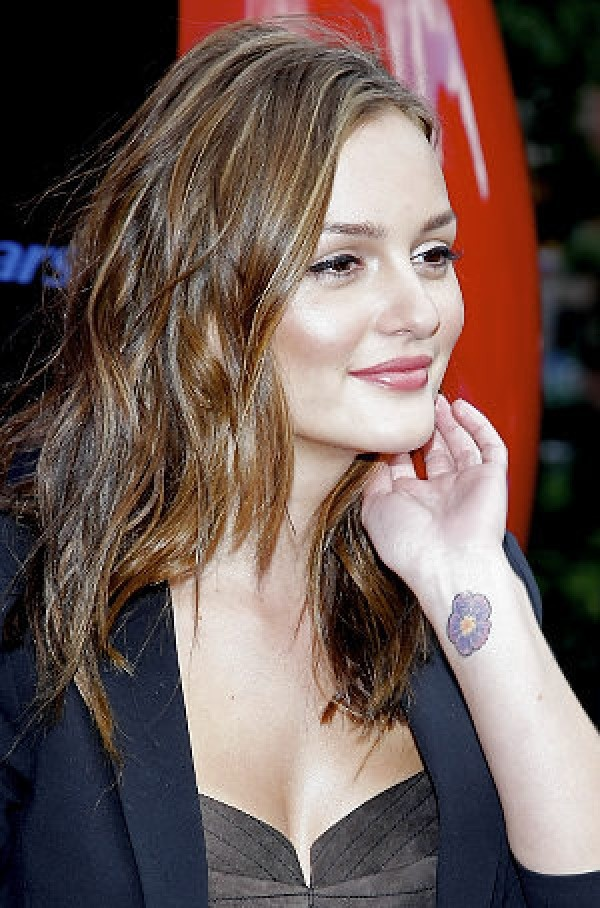 leighton meester cherry blossom on her wrist