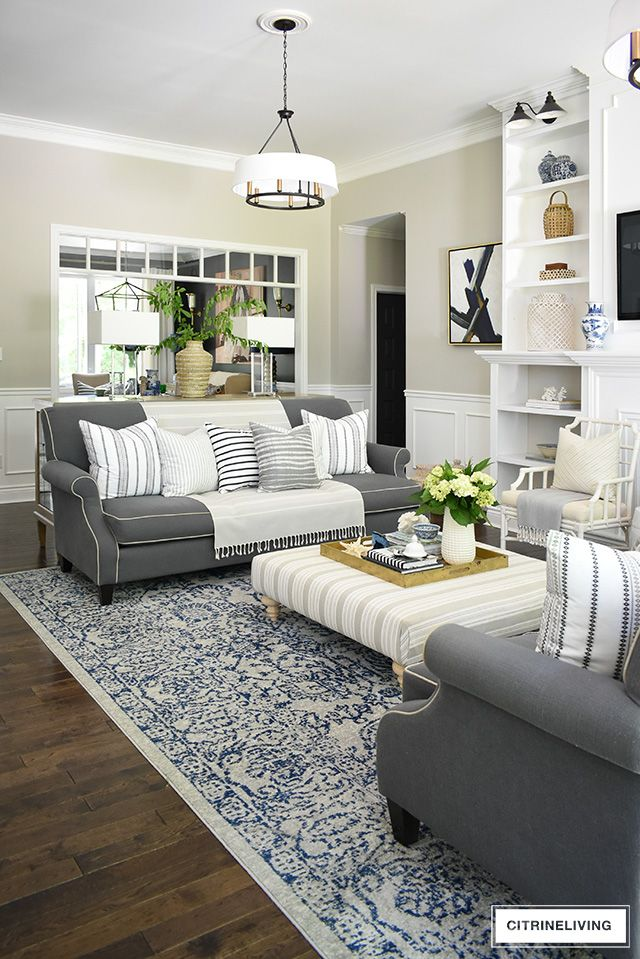 Summer Living Room With Calming Neutral Palette Summer Living Room Blue Living Room Decor Living Room Colors
