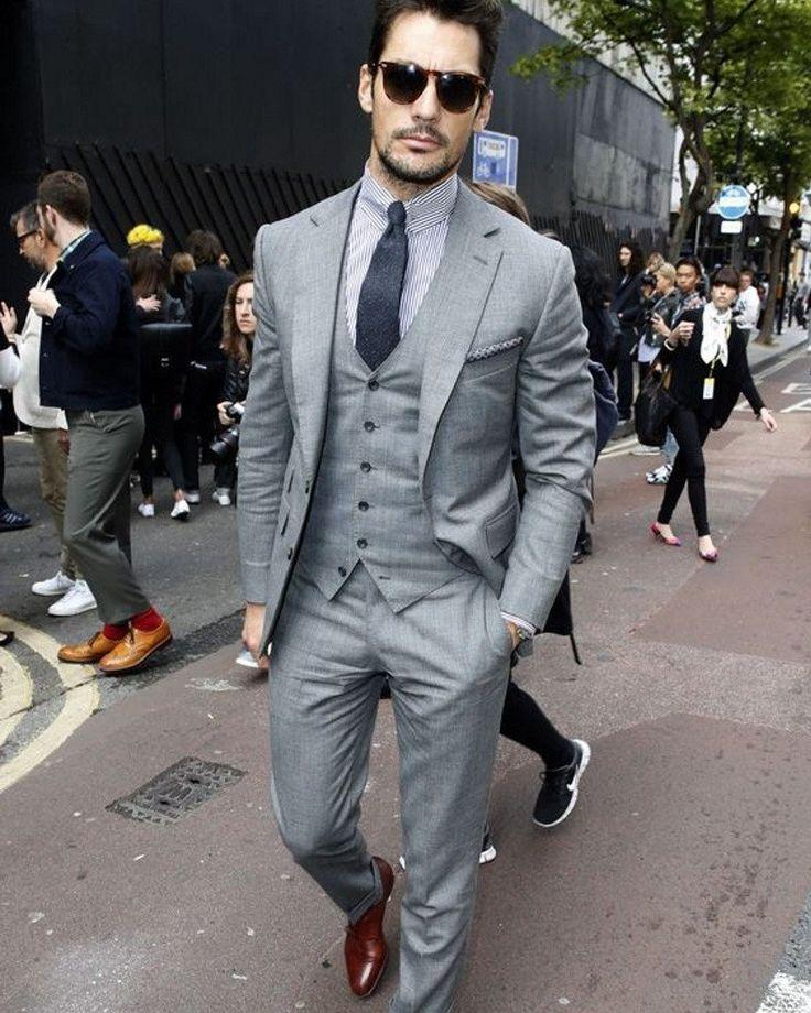 (Jacket+Vest+Pants) Mens Grey Suit