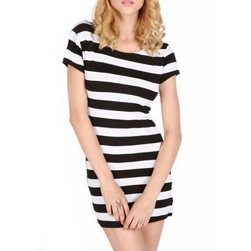 Show details for Summer Fashion Short Sleeve Bowknot Backless Dresses Striped Dress