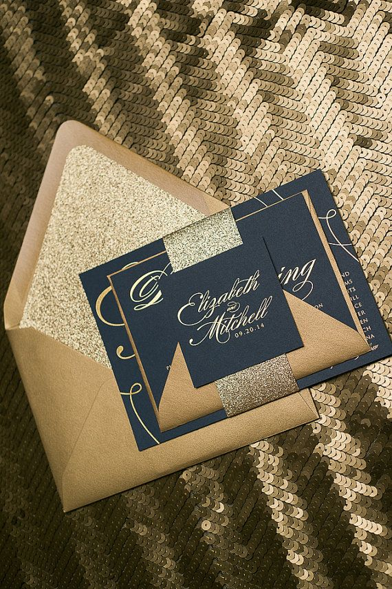 Gold Foil Stamped Formal Calligraphy Wedding invitations on smooth Navy Stock *Cost is for one Sample Only, as shown in photos above. Custom
