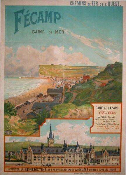 Vintage Railway Travel Poster - Fécamp en Normandie - Département : Seine-Maritime.
