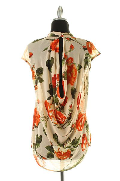 wow, the back of this shirt is really pretty. what an elegant floral print