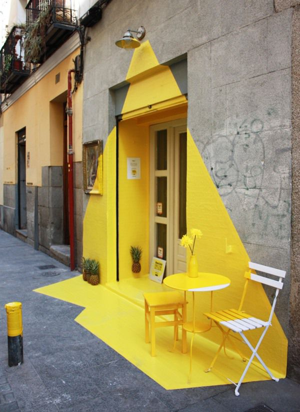 ephemeral installation at restaurant Rayen in Madrid. M: this is super duper excellent street presence, street art
