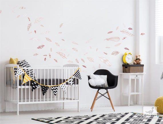Wall Decal Nursery Feathers Altrosa Wall Stickers Feathers Baby Room Decoratio In 2020 Babyzimmer Wandaufkleber Kindergarten Wandtattoos Babyzimmer Dekor