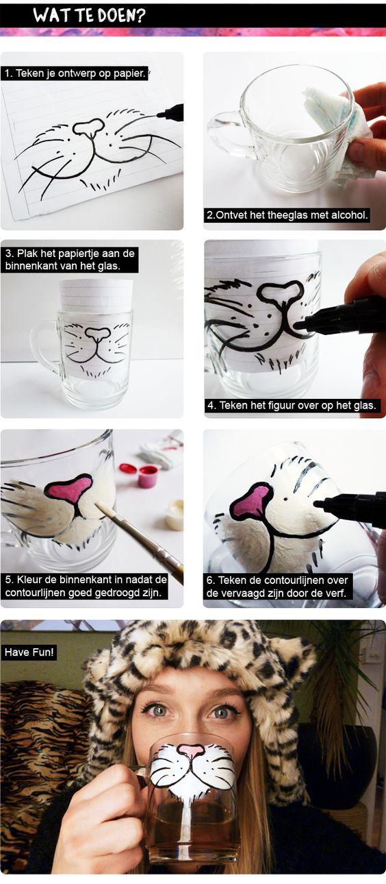 DIY: Cat Tea Glass. So Cute!!!