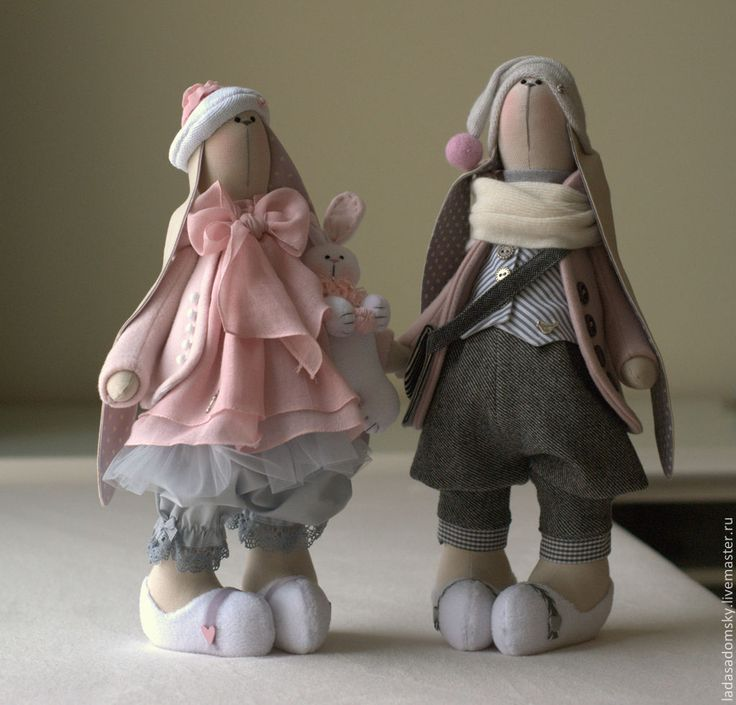 Купить Зайка Nicolia - 39 см - серый, серое платье, розово-сиреневый, тильда заяц
