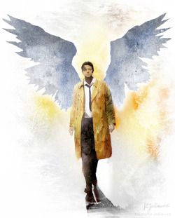 Castiel from Supernatural. Watercolours on paper.
