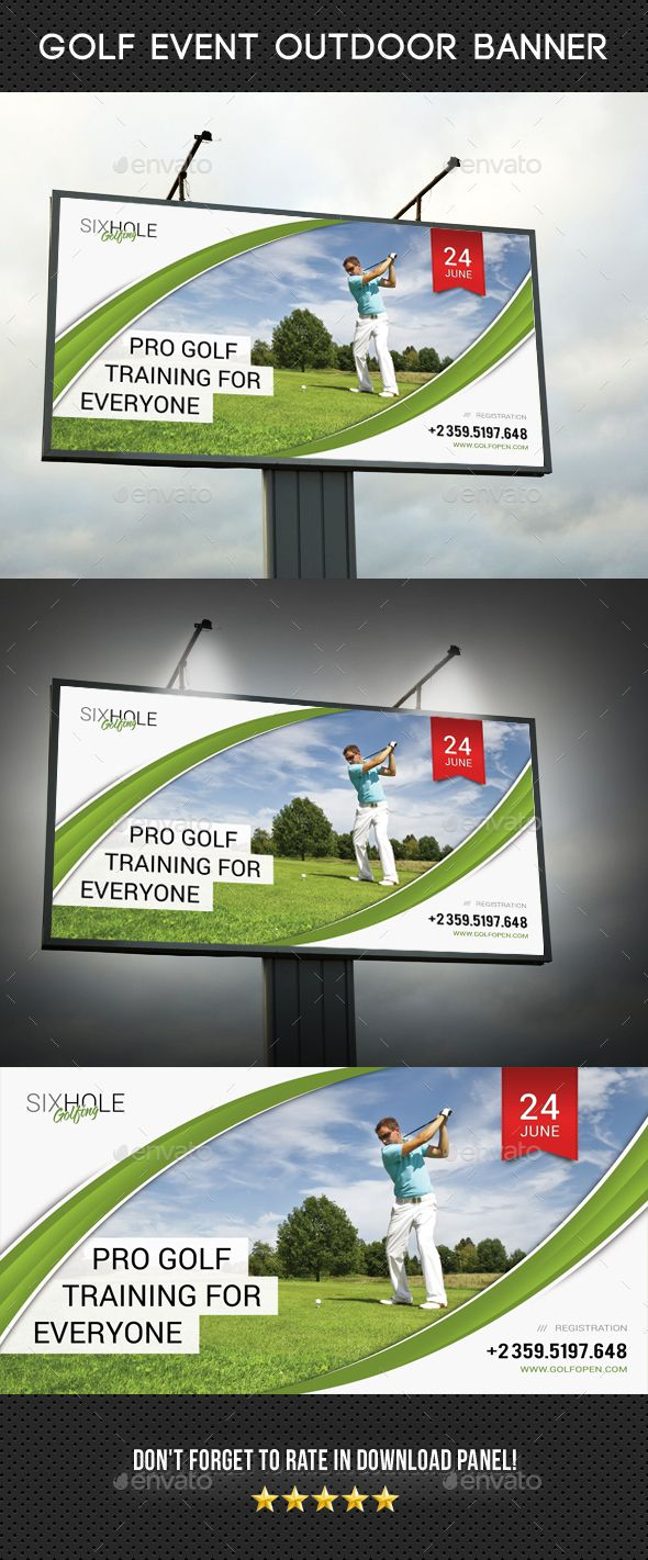 Golf Event Outdoor Billboard Banner Template 05 - #Golf #Event #Outdoor #Billboard #Banner #Signage #Template #Print #Design. Download here: https://graphicriver.net/item/golf-event-outdoor-banner-05/19527401?ref=yinkira
