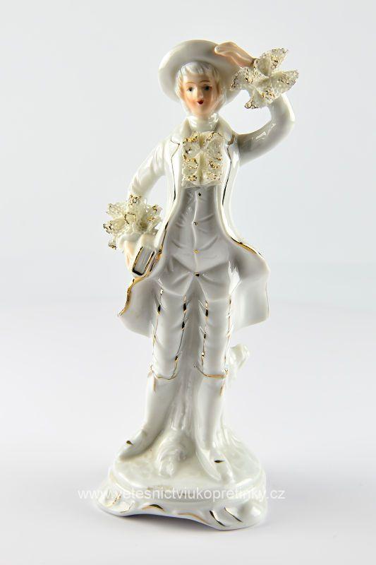 Porcelánová soška muže, výška 20 cm.