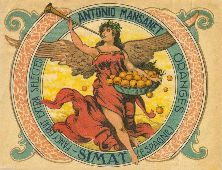 ORANGE CRATE LABEL SPANISH SPAIN VINTAGE OLD WINGED VICTORY STYLIZED | eBay