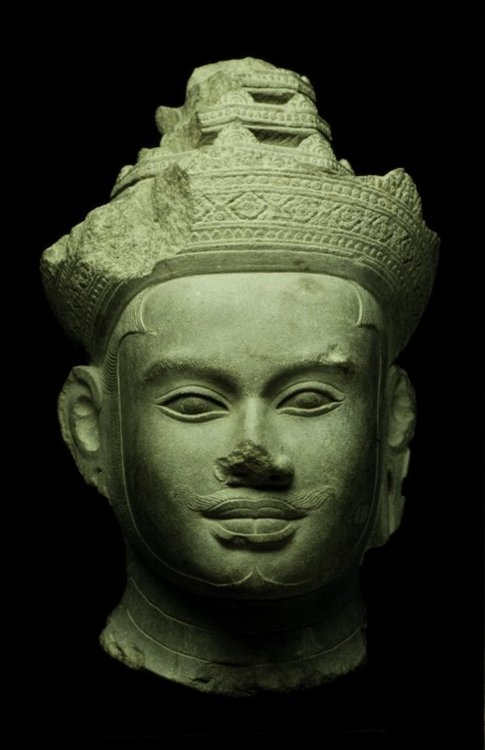 Head from an Image of Vishnu or a Deified King.  ARTIST:Artist Unknown, Cambodian.  DATE:early 9th century.    The Minneapolis instittute of Arts