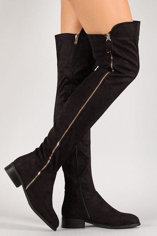 Suede Zip Up Thigh High Boot - Find 150+ Top Online Shoe Stores via http://AmericasMall.com/categories/shoes.html