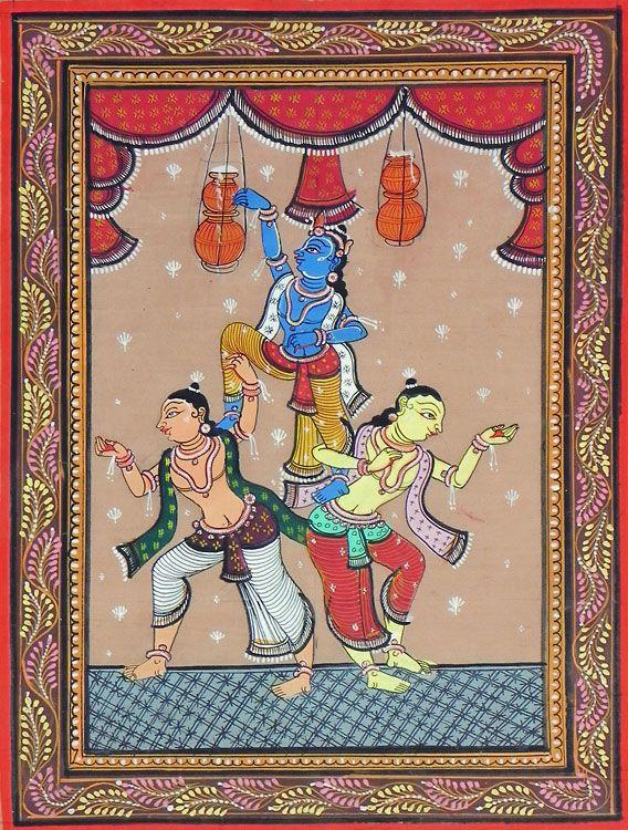 Krishna Stealing Butter with Balaram and Sridama (Orissa Paata Painting on Tussar Silk - Unframed)
