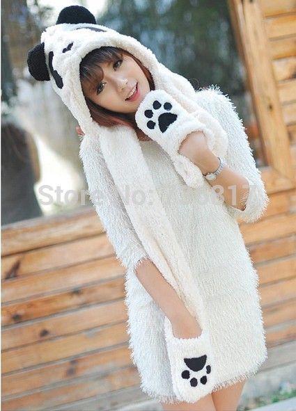 Cheap Envío gratis lindo panda de la historieta de la señora del invierno guantes calientes espesados sombrero de la bufanda de una de tres piezas traje de la bufanda de la bufanda, Compro Calidad Bufandas directamente de los surtidores de China: