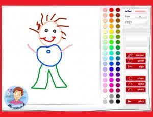Dojčatá kresliť na interaktívnu tabuľu alebo počítačovej kleuteridee.nl