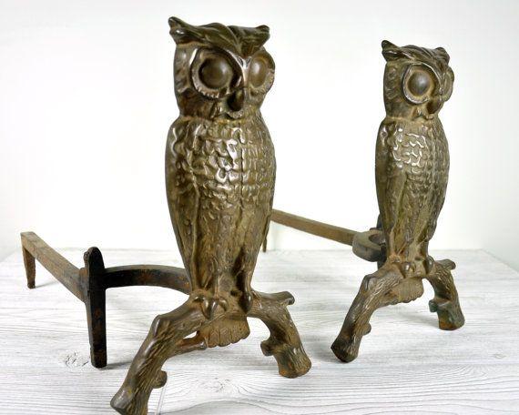 {Vintage Owl Andirons / Cast Iron}Vintage Owl, Animal
