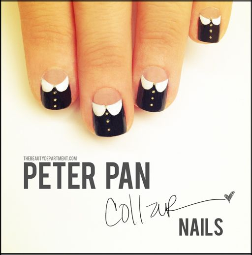 this is so cute!!!!!White Collars, Nails Art, Nailart, Peter O'Tool, Peter Pan Collars, Peterpan, Collars Nails, Wednesday Addams, Nails Tutorials