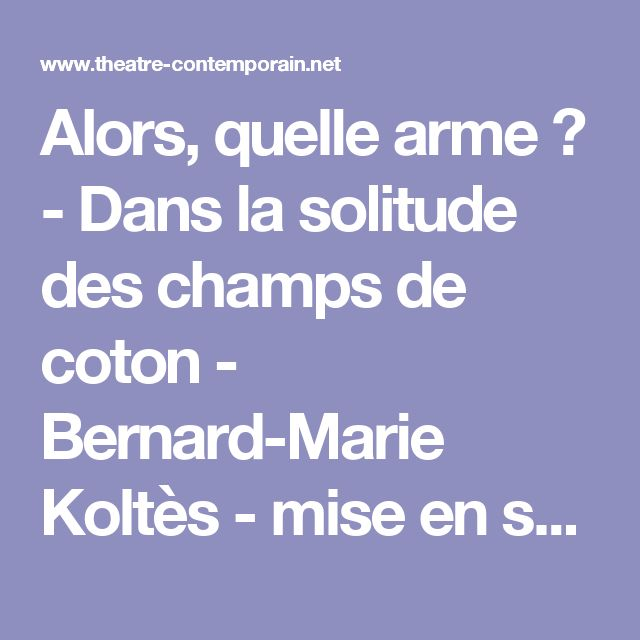 Alors, quelle arme ? - Dans la solitude des champs de coton - Bernard-Marie Koltès - mise en scène Nicolas Derieux, - theatre-contemporain.net