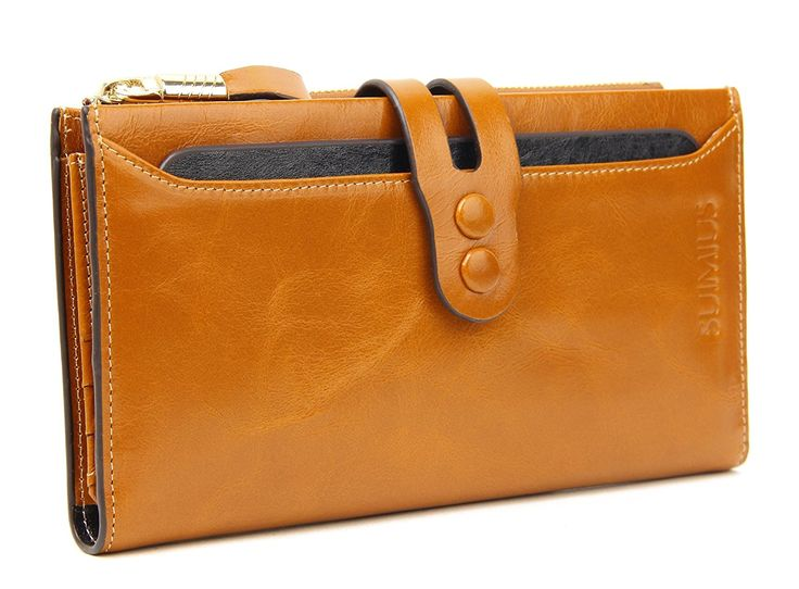 SUIMIUS Women's Large Capacity Luxury Waxy Genuine Leather Wallet with Zipper Pocket *** Be sure to check out this awesome product.