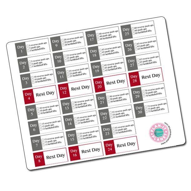 30 Day Arm Challenge Stickers