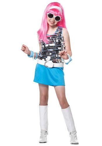 blue girl sparkle top and plastic skirt Go Go Girl Costume