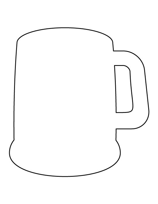 Beer mug pattern. Use the printable outline for crafts, creating stencils, scrapbooking, and more. Free PDF template to download and print at http://patternuniverse.com/download/beer-mug-pattern/