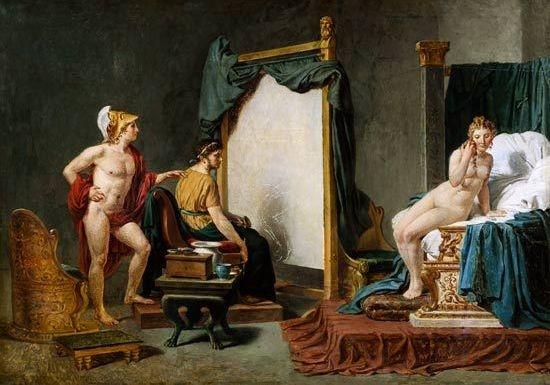 아펠레스와 캄파스페 - 자크 루이 다비드 作(1814년) 알렉산더 대왕에게는 아름다운 애첩, 캄파스페가 있었다. 대왕은 그녀의 눈부심 젊음이 사라지기 전에 궁정화가였던 아펠레스를 시켜 캄파스페의 알몸을 그리게 한다. 이 작품에는 사랑하는 여인의 그림이 완성되어 가는 과정을 유심히 지켜보는 한 남자로서의 대왕의 모습이 드러나 있다. 이 일을 계기로 아펠레스와 캄파스페는 사랑에 빠지게 되는데 알렉산더 대왕은 노여움을 누르고 아펠레스를 캄파스페에게 선물하는 참된 영웅의 면모를 보여주었다고 한다.
