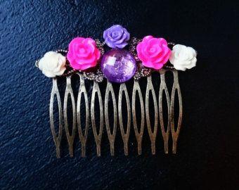 Peigne à cheveux fleuri, violet, laiton, noël, tenue de noël, idée cadeau, alternatif, hair comb, peigne pour cheveux, kitsch - Modifier la fiche - Etsy