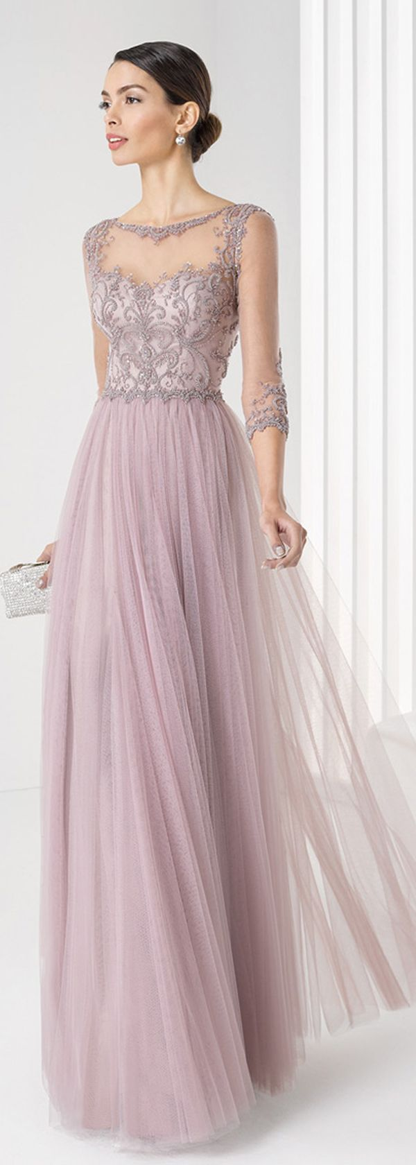 Fabulous Tulle & Satin Bateau Neckline Three-quarter Sleeves Floor-length A-line Evening Dresses with Embroidery