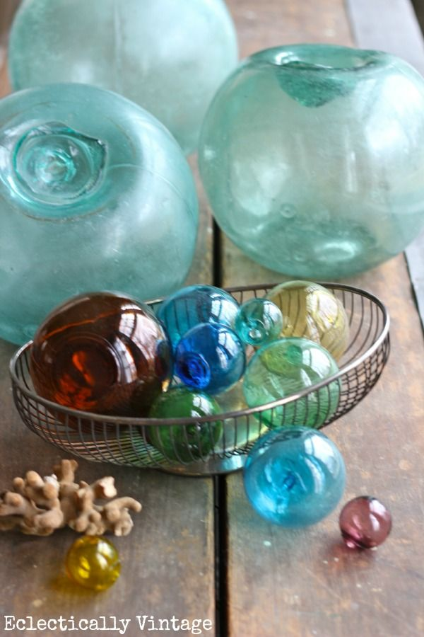 Vintage Glass Fishing Buoys PERFECT FOR CENTERPIECES, I should add some kelp for a real authentic look.