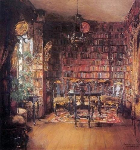 17 best images about paintings with libraries bookshops for Library painting ideas