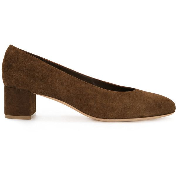 Mansur Gavriel round toe pumps ($539) ❤ liked on Polyvore featuring shoes, pumps, brown, rounded toe pumps, brown shoes, leather shoes, brown pumps and brown leather shoes