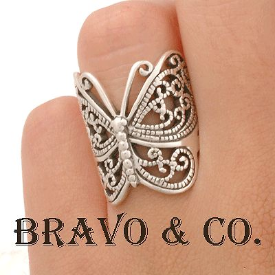 SIZE 9 Finely Made Solid 925 Sterling Silver Butterfly New WOMEN Ring R-074
